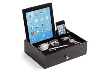 Manscape Valet Drawer with Charging Station, Wood, Brown