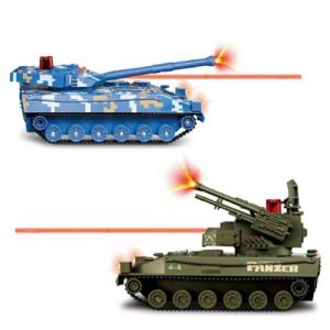 Flying Gadgets Electric Remote Control (RC) Battle Tanks with Lazer & Sounds (Twin Pack) – Blue & Green